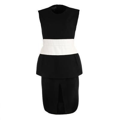 peplum detail midi dress black and white